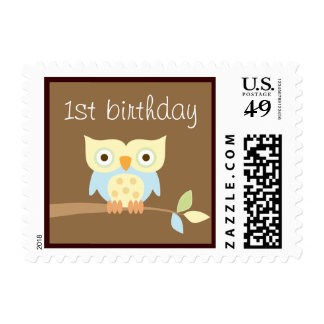 1st Birthday Owl Postage Stamps