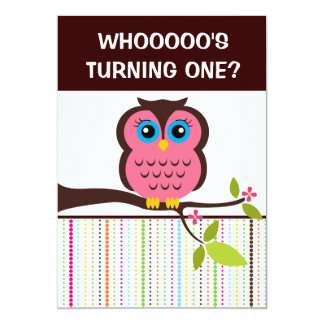 "1st Birthday Owl Theme Party Invitations 5"" X 7"" Invitation Card"