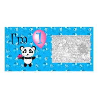 1st Birthday panda blue birthday pattern Customized Photo Card
