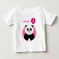 1st birthday panda pink balloon baby T-Shirt