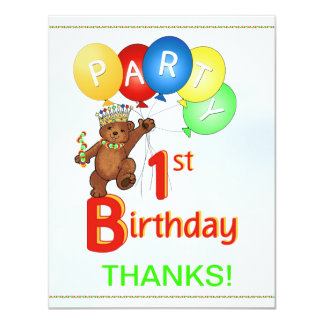 1st Birthday Party BearThank You Card