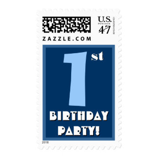 1st Birthday Party Big Bold Blue and White Stamp