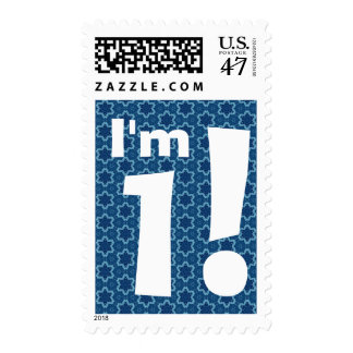 1st Birthday Party Big Bold White and Blue Stars Postage