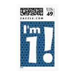 1st Birthday Party Big Bold White and Blue Stars Stamps