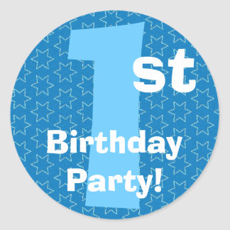 1st  Birthday Party Blue Stars B540A Classic Round Sticker