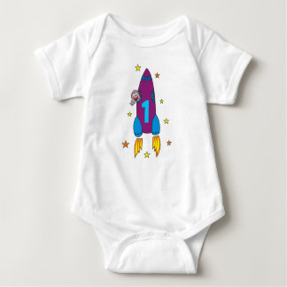 1st Birthday Party Cartoon Space Rocket Shirt