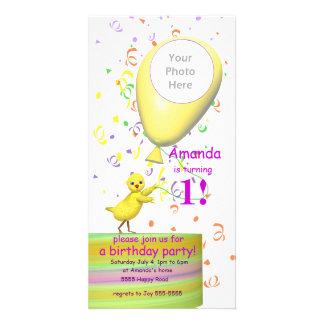 1st Birthday Party Chicken Invite Yellow Balloon Photo Card