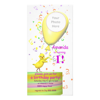 1st Birthday Party Chicken Invite Yellow Balloon Custom Photo Card