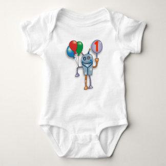 1st Birthday Party Cute Glossy Robot Baby Bodysuit