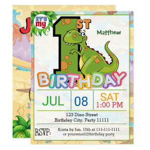 Dinosaur 1st Birthday Invitations Announcements Zazzle