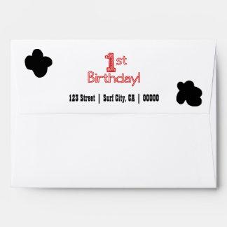 1st Birthday Party Envelope - Cow or Farm Theme