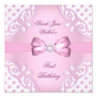 1st Birthday Party Girl Pink White Polka Dot Card