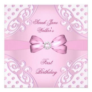 1st Birthday Party Girl Pink White Polka Dot Custom Announcement
