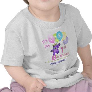 1st Birthday Party Girl Princess Bear T-shirt