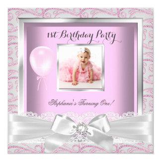 1st Birthday Party Girls Pink Diamonds Card