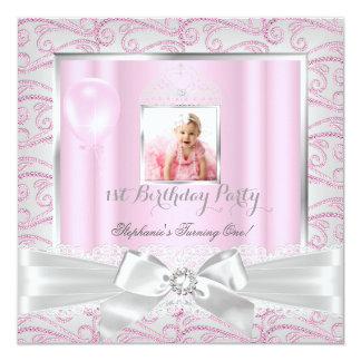 1st Birthday Party Girls Pink Diamonds Tiara 5.25x5.25 Square Paper Invitation Card