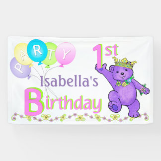 1st Birthday Party Happy Princess Bear Banner