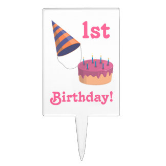 1st Birthday-Party Hat and Cake Cake Topper