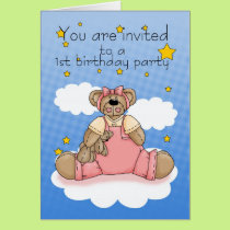1ST Birthday Party Invitation With Pink Teddy Bear
