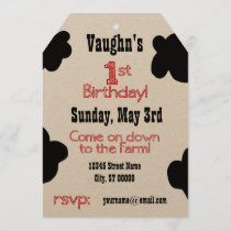 1st Birthday Party Invite - Cow Theme