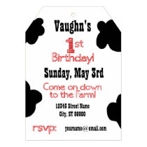 1st Birthday Party Invite - Cow Theme