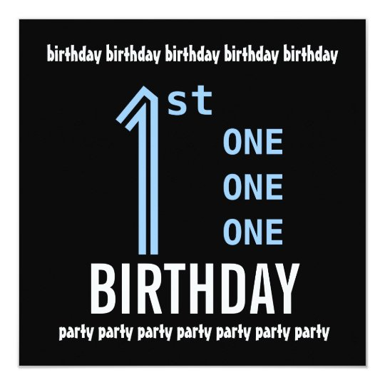 1st Birthday Party Modern Blue and Black G208 Card