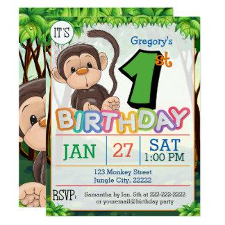 1st Birthday Party Monkey Invitation