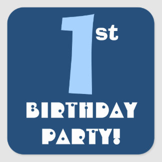 1st Birthday Party Navy and Baby Blue Square Sticker