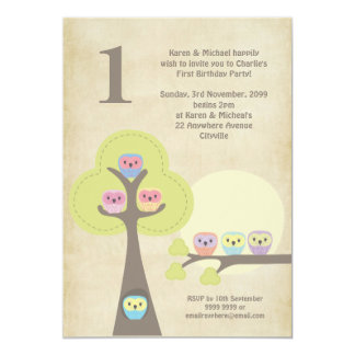 1st Birthday Party Night Owls Cute Invitation