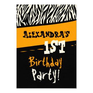 1st Birthday Party - Orange Black White Zebra 5x7 Paper Invitation Card