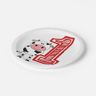 1st Birthday Party Plate - Cow or Farm Theme 7 Inch Paper Plate