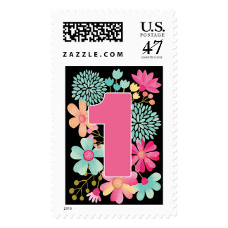 1st Birthday Party Postage Stamp Sticker