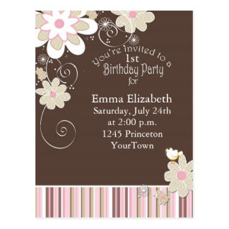 1st Birthday Party Postcard for Girl