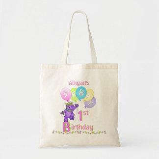 1st Birthday Party Purple Fur Princess Bear Tote Bag