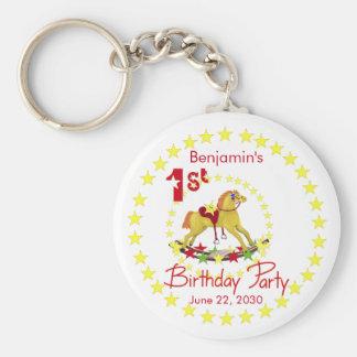 1st Birthday Party Rocking Horse Basic Round Button Keychain