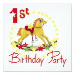 1st Birthday Party Rocking Horse 5.25x5.25 Square Paper Invitation Card