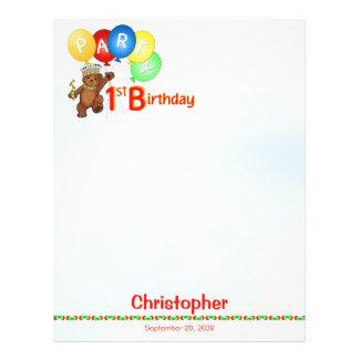 "1st Birthday Party Royal Bear Scrapbook  Paper 1 8.5"" X 11"" Flyer"