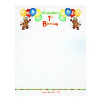 "1st Birthday Party Royal Bear Scrapbook  Paper 2 8.5"" X 11"" Flyer"