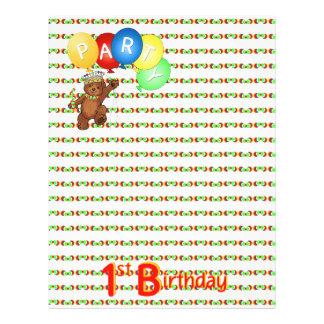 "1st Birthday Party Royal Bear Scrapbook  Paper 3 8.5"" X 11"" Flyer"