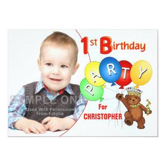 1st Birthday Party Royal Teddy Bear Card