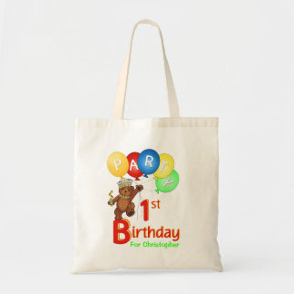 1st Birthday Party Teddy Bear Prince Goodie Tote Bag