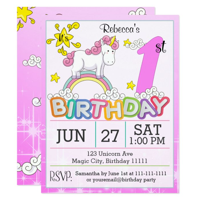 1st Birthday Party Unicorn Invitation