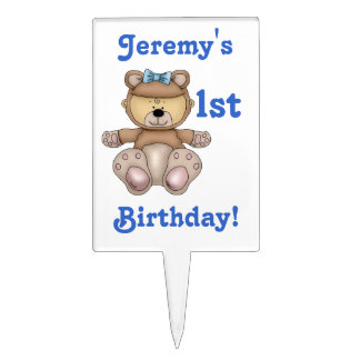 1st Birthday-Personalize Name+Cute Teddy Bear Cake Topper