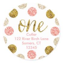1st Birthday-Pink and Gold Glitter Address Classic Round Sticker