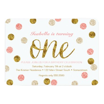 FancyShmancyNotes 1st Birthday-Pink and Gold Glitter Card