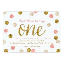 1st Birthday-Pink and Gold Glitter Invitation