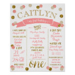 1st Birthday-Pink and Gold Glitter Polka Dots Poster