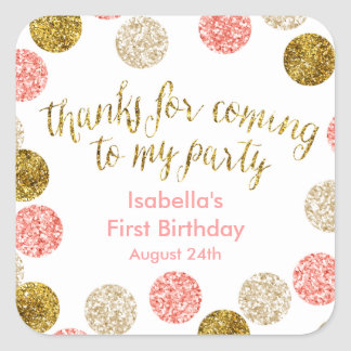 1st Birthday-Pink and Gold Glitter Polka Dots Square Sticker