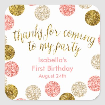 birthday 1st Birthday-Pink and Gold Glitter Square Sticker