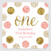 1st Birthday-Pink and Gold Glitter Square Sticker